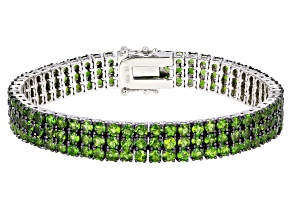 Pre-Owned Green Chrome Diopside Rhodium Over Silver Bracelet 20.88ctw