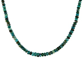 Pre-Owned Blue chrysocolla bead sterling silver necklace
