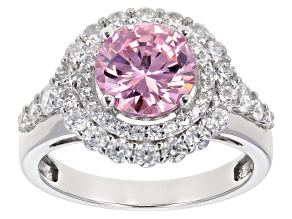 Pre-Owned Pink and White Cubic Zirconia Rhodium Over Sterling Silver Ring 5.34ctw