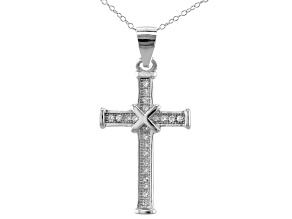 Pre-Owned White Cubic Zirconia Rhodium Over Sterling Silver Cross Pendant With Chain 0.30ctw