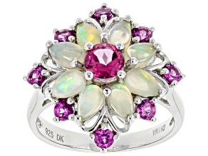 Pre-Owned Multicolor Ethiopian Opal Rhodium Over Silver Ring 2.02ctw