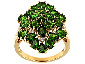 Pre-Owned Green chrome diopside 18k yellow gold over silver ring 3.50ctw