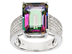 Pre-Owned Green Mystic Topaz® Sterling Silver Ring 8.53ctw