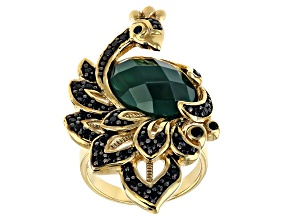 Pre-Owned Green onyx  18k gold over sterling silver peacock ring 0.73ctw
