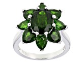 Pre-Owned Green chrome diopside rhodium over silver ring 5.62ctw