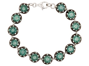 Pre-Owned Teal Fluorite Rhodium Over Silver Bracelet 11.69ctw