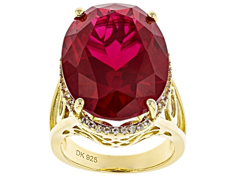 Pre-Owned Red ruby 18k yellow gold over sterling silver ring 21.73ctw