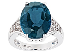 Pre-Owned London Blue Topaz Rhodium Over Silver Ring 11.29ctw