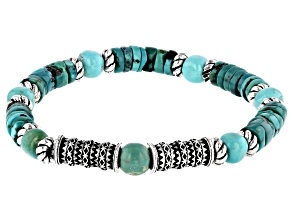 Pre-Owned Turquoise Silver Stretch Bracelet