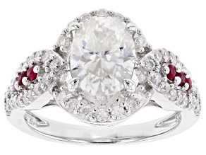 Pre-Owned Moissanite And Ruby Platineve Ring 2.98ctw DEW.
