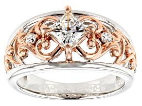 Pre-Owned Moissanite Platineve And 14k Rose Gold Two-Tone Ring .86ctw DEW.