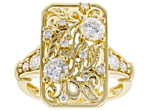 Pre-Owned Moissanite 14k Yellow Gold Over Silver Ring 1.08ctw DEW.