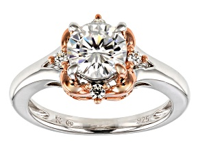 Pre-Owned Moissanite Platineve And 14k Rose Gold Two Tone Ring 1.32ctw DEW.