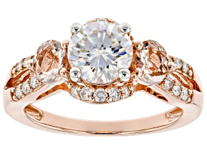 Pre-Owned Moissanite And Morganite 14k Rose Gold Over Silver Ring 1.48ctw DEW.