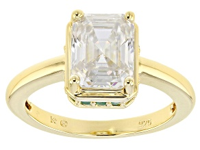 Pre-Owned Moissanite And Emerald 14k Yellow Gold Over Silver Ring 2.52ctw DEW.