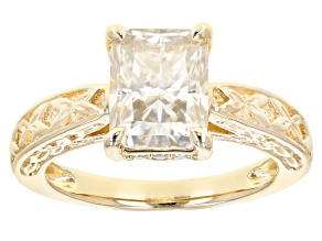 Pre-Owned Moissanite 14k Yellow Gold Over Silver Ring 2.76ctw     DEW.