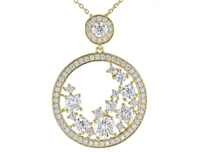 Pre-Owned Moissanite 14k Yellow Gold Over Silver Pendant 3.24ctw DEW