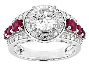 Pre-Owned Moissanite And Ruby Platineve Ring 2.62ctw DEW