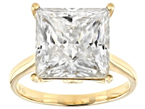 Pre-Owned Moissanite 14k Yellow Gold Ring 8.41ctw DEW.