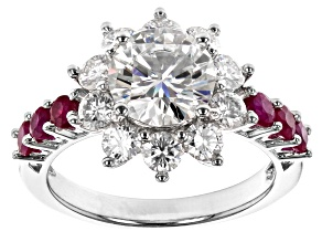 Pre-Owned Moissanite And Burmese Ruby Platineve Ring 2.90ctw DEW.