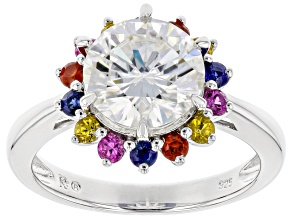 Pre-Owned Moissanite multi-color sapphire Platineve ring 2.70ct DEW.