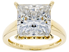 Pre-Owned Moissanite 14k Yellow Gold Ring 6.92ct DEW