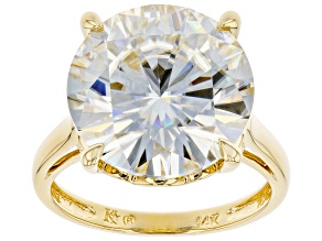 Pre-Owned Moissanite 14k Yellow Gold Ring 9.75ct DEW.
