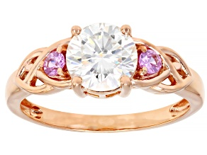 Pre-Owned Moissanite And Pink Sapphire 14k Rose Gold Ring 1.20ct DEW.