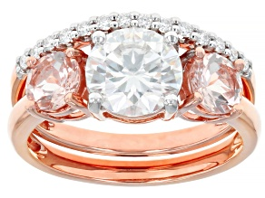 Pre-Owned Moissanite And Morganite 14k Rose Gold Ring With Band 1.64ctw DEW.