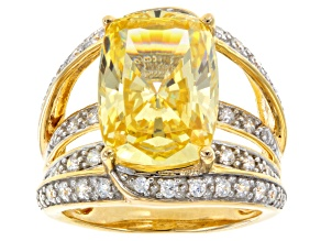 Pre-Owned Yellow And White Cubic Zirconia 18k Yellow Gold Over Sterling Silver Ring 12.70ctw