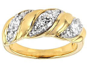 Pre-Owned Moissanite 14k Yellow Gold Over Silver Ring .87ctw DEW.