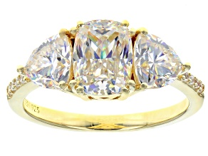 Pre-Owned Fabulite Strontium Titanate And White Zircon 18k Yellow Gold Over Silver Ring 3.76ctw
