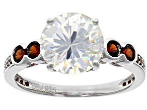 Pre-Owned White Fabulite Strontium Titanate And Garnet  Rhodium Over Silver Ring 4.79ctw