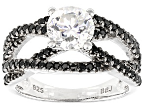 Pre-Owned Fabulite Strontium Titanate And Black Spinel Rhodium Over Sterling Silver Ring 2.43ctw.