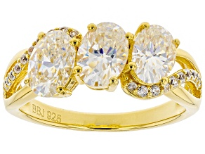 Pre-Owned White Fabulite Strontium Titanate And White Zircon 18k Yellow Gold Over Silver Ring 3.21ct