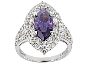 Pre-Owned Purple Fabulite Strontium Titanate And White Zircon Rhodium Over Silver Ring 5.53ctw