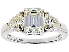 Pre-Owned Fabulite Strontium Titanate  Rhodium Over Silver Ring 3.97ctw