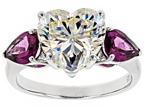 Pre-Owned Fabulite Strontium Titanate and Grape Color Garnet Rhodium Over Silver Ring 7.06ctw.
