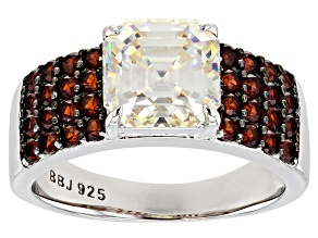 Pre-Owned Fabulite Strontium Titanate and red garnet rhodium over sterling silver ring 4.63ctw