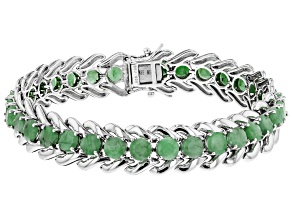 Pre-Owned Green emerald rhodium over sterling silver bracelet 13.60ctw