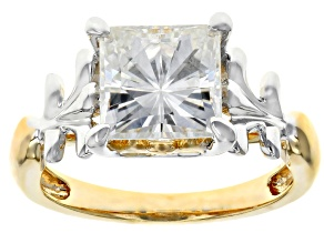 Pre-Owned Moissanite Platineve And 14k Yellow Gold Over Platineve Two Tone  Ring 3.10ct D.E.W