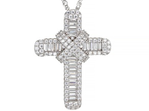 Pre-Owned White Cubic Zirconia Rhodium Over Sterling Silver Cross Pendant With Chain 3.66ctw