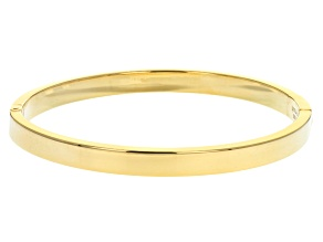 Pre-Owned Moda Al Massimo™ 18K Yellow Gold Over Bronze 6mm Oval Polished Bangle with Hidden Lock Cla