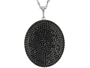 Pre-Owned Black Spinel Rhodium Over Silver Pendant With Chain 2.30ctw
