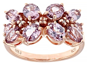 Pre-Owned Multi-color Garnet 18k rose gold over sterling silver ring 2.39ctw