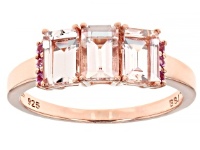 Pre-Owned Pink morganite 18k rose gold over silver ring 1.04ctw