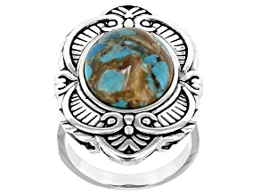 Pre-Owned Blended Turquoise And Abalone Shell Rhodium Over Sterling Silver Ring