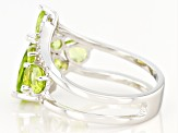 Pre-Owned Green Peridot Rhodium Over Silver Ring 3.22ctw