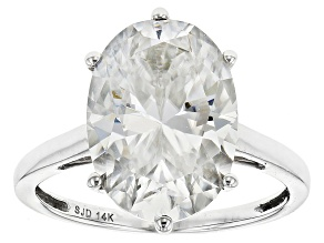 Pre-Owned Moissanite Fire® 7.22ct Diamond Equivalent Weight Oval 14k White Gold Ring