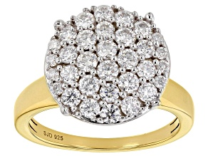 Pre-Owned Moissanite 14k Yellow Gold Over Silver Ring 1.20ctw DEW.